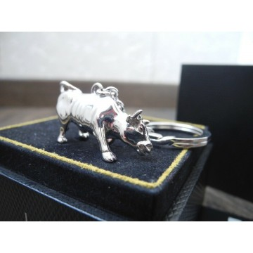 ALFRED DUNHILL LONDON STERLING SILVER BULL 39.4gr KEYCHAIN KEY RING NOS NEW