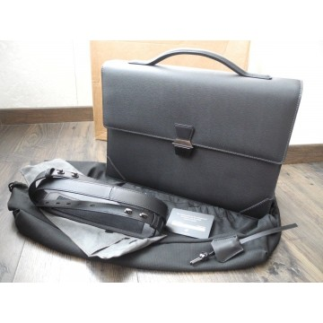 DUNHILL SIDECAR GUNMETAL SINGLE GUSSET BRIEFCASE LEATHER DOCUMENT CASE NEW SET