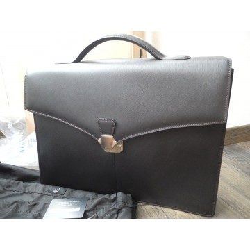 DUNHILL SIDECAR DOUBLE GUSSET LEATHER BRIEFCASE FA6060 ATTACHE CASE NEW SET