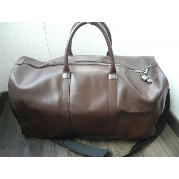 MONTBLANC TRAVEL BAG LUXURY BROWN LEATHER WEEKEND XLARGE GYM BIG HAND Bag MINT