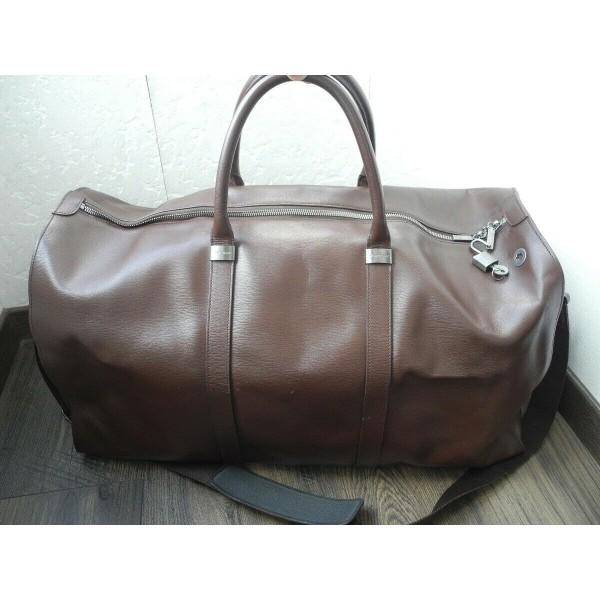 MONTBLANC TRAVEL BAG LUXURY BROWN LEATHER WEEKEND XLARGE GYM BIG HAND Bag MINT