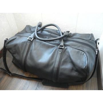 MONTBLANC WEEKEND TRAVEL BAG LUXURY BLACK LEATHER XLARGE GYM BIG HAND Bag MINT