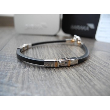 BARAKA 18K WHITE ROSE GOLD DIAMOND BRACELET Barakà ORO 750 Rubber Armband NEW