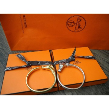 HERMES HORSE CHEVAL GOLD SILVER tone BANGLE METAL BRACELET LADY'S Armband SET