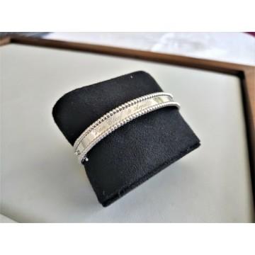 VAN CLEEF & ARPELS SIGNATURE PERLEE 18K WHITE GOLD BRACELET M 17cm ORO Armband