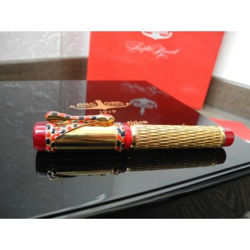 ANCORA CORAL Peacock SNAKE LIMITED EDITION 88 GOLD SILVER FOUNTAIN PEN NEW SET