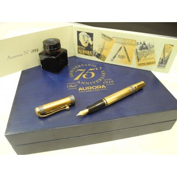 AURORA 75TH ANNIVERSARY 18K GOLD VERMEIL LIMITED FOUNTAIN PEN