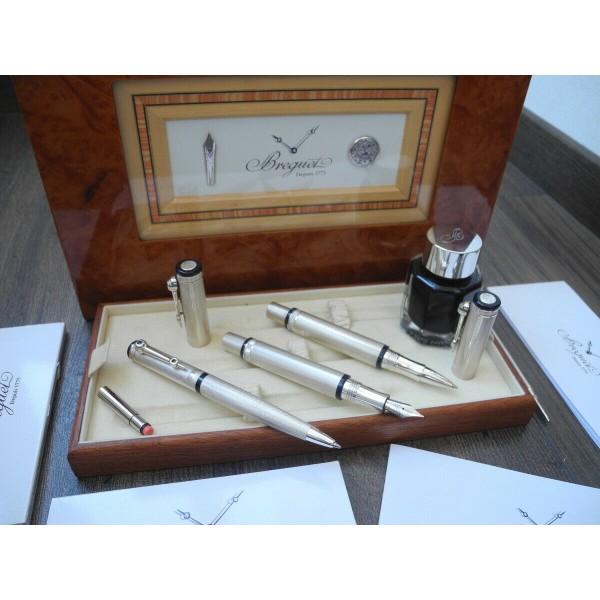 BREGUET 18K GOLD Fountain Rollerball Ballpoint/Mechanical Pencil SILVER PEN SET