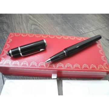 CARTIER DIABOLO DE LARGE BLACK COMPOSITE PLATINUM ROLLERBALL PEN BOX PAPER MINT