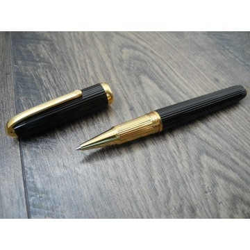 CARTIER LOUIS CARTIER GROOVED GOLD Black Composite FRANCE CABOCHON STONE ROLLERBALL PEN