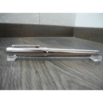 CARTIER DIABOLO BRUSHED STAINLESS STEEL & PALLADIUM ROLLERBALL PEN