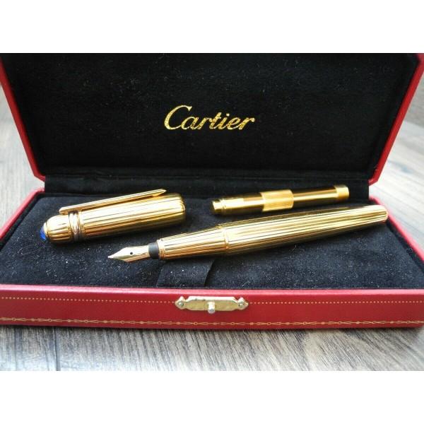 CARTIER PASHA de Yellow GOLD Plated 1993 year 18K GOLD F nib FOUNTAIN PEN BOX