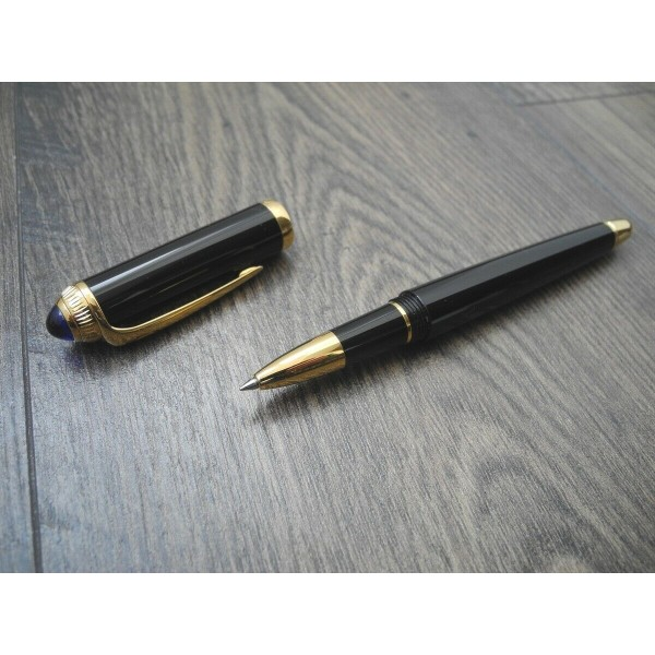 CARTIER ROADSTER GOLD Black Composite BLUE CABOCHON STONE ROLLERBALL PEN