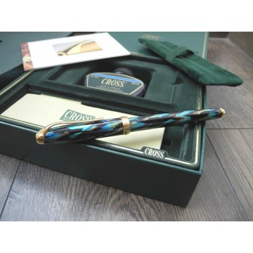 CROSS PINNACLE PEACOCK STYLE 18K GOLD B NIB FOUNTAIN PEN FULL SET INK NEW