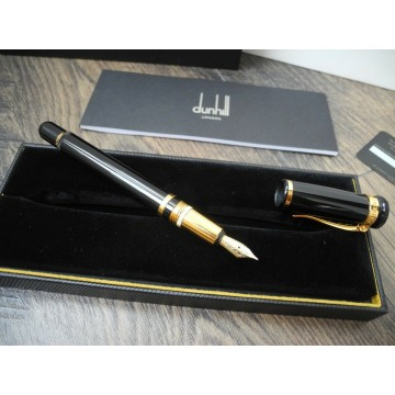 ALFRED DUNHILL SENTRYMAN BLACK RESIN GOLD PLATED 750 M nib FOUNTAIN PEN FULL SET