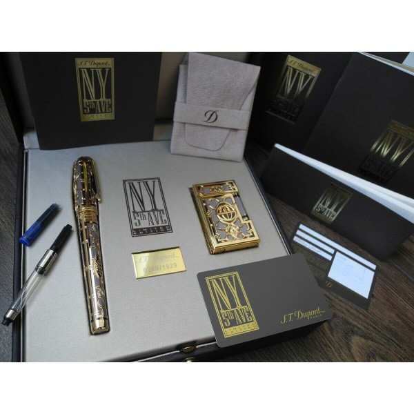 S.T. DUPONT NEW YORK 5TH AVENUE LIGHTER LIMITED EDITION OLYMPIO FOUNTAIN PEN SET
