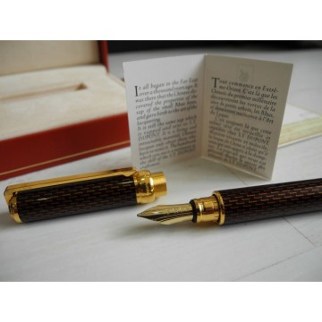 S.T. DUPONT GATSBY CHINESE LACQUER 18K GOLD M NIB 431203 FOUNTAIN PEN NEW SET
