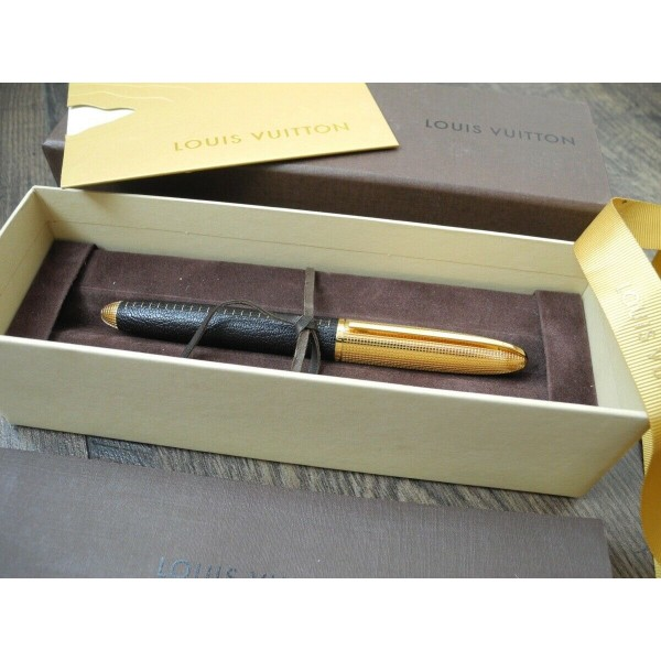 LOUIS VUITTON DOC CUIR BLACK LEATHER 18K GOLD F nib FOUNTAIN PEN FULL SET NEW