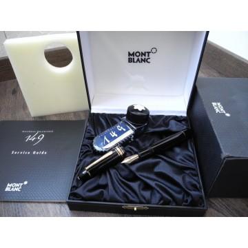 MONTBLANC 149 Meisterstuck 18K GOLD M nib FOUNTAIN PEN INK BOX DISPLAY SET MINT