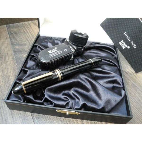 MONTBLANC 149 Meisterstuck 18K GOLD F nib FOUNTAIN PEN INK BOX DISPLAY SET MINT