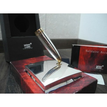 MONTBLANC 149 FOUNTAIN PEN STAND SOLITAIRE 925 STERLING SILVER GOLD FITTINGS SET