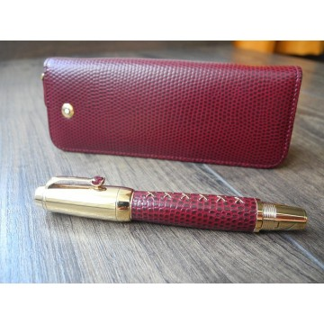 MONTBLANC BOHEME JEWELS RHODOLITE RED LEATHER 18K GOLD FOUNTAIN PEN POUCH NEW