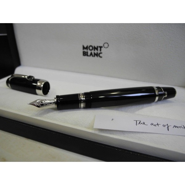 MONTBLANC BOHEME BLACK ONYX PLATINUM 14K GOLD Nib F Fountain Pen FULL SET NEW