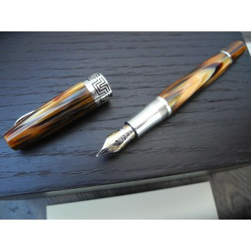 MONTEGRAPPA EXTRA 1930 BROWN TORTOISESHELL SILVER 18K GOLD M FOUNTAIN PEN SET