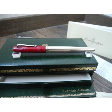 MONTEGRAPPA Z300 STERLING SILVER RED MARBLE ROLLERBALL PEN