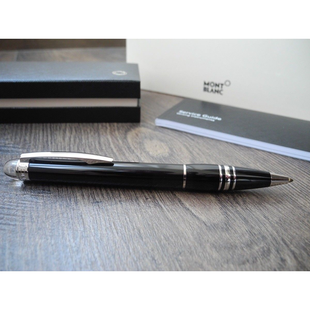 33643e61def MONTBLANC STARWALKER PLATINUM RESIN 8486 BALLPOINT PEN NEW SET