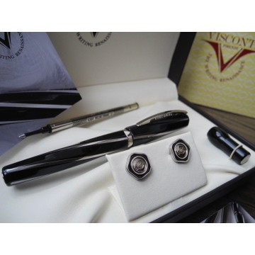 VISCONTI DIVINA BLACK MIDI Midsize Rollerball PEN + CUFFLINKS SET NEW