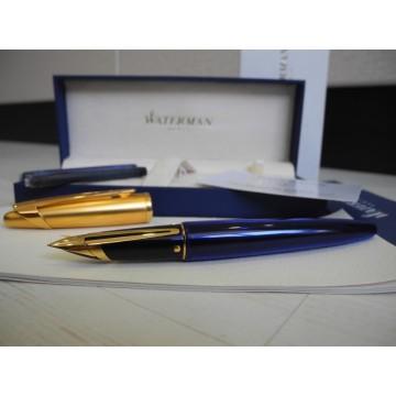 WATERMAN EDSON SAPPHIRE BLUE 18K GOLD M NIB FOUNTAIN PEN FULL SET