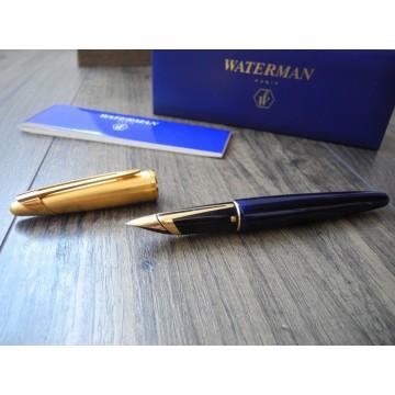 WATERMAN EDSON SAPPHIRE BLUE 18K 750 GOLD F nib FOUNTAIN PEN MINT