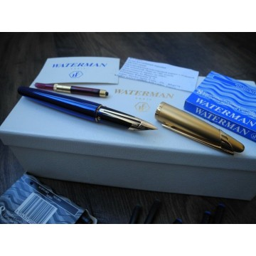 WATERMAN EDSON SAPPHIRE BLUE 18K GOLD F NIB FOUNTAIN PEN FULL SET PAPER NOS