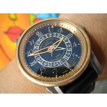CUERVO Y SOBRINOS TORPEDO PIRATA GMT LIMITED EDITION GOLD BRONZE TITANIUM WATCH
