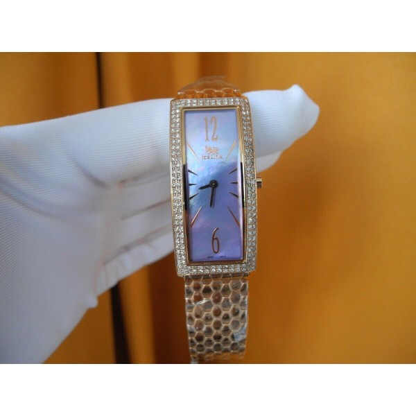 ICELINK LYRA 1.50Ct DIAMONDS MOTHER of PEARL ROSE GOLD plated Lady's WATCH NEW