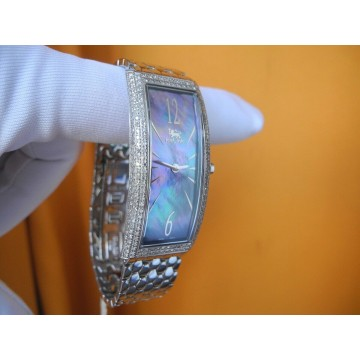 ICELINK LYRA 1.50Ct DIAMONDS MOTHER of PEARL SILVER plated Lady's WATCH NEW