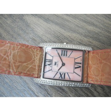 ICELINK NORMA .85Ct DIAMONDS MOTHER of PEARL CROCODILE STRAP Lady's WATCH NEW
