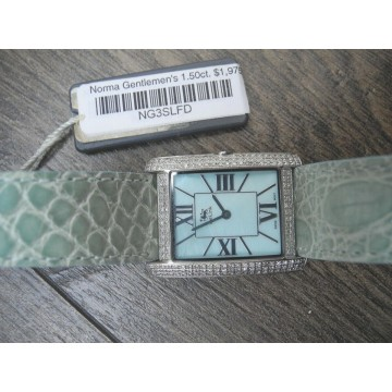 ICELINK NORMA 1.50Ct DIAMONDS MOTHER of PEARL CROCODILE STRAP Lady's WATCH NEW