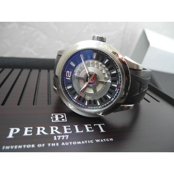PERRELET DOUBLE ROTOR 43mm TITANIUM DATE AUTOMATIC WATCH FULL SET A5002/2 MINT